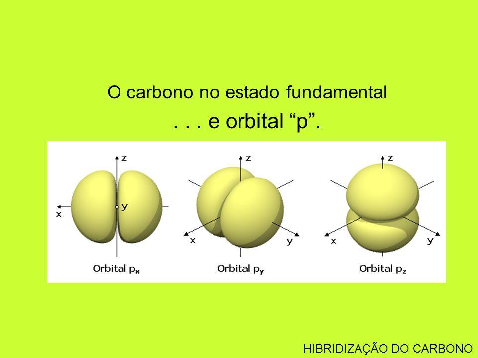 O carbono no estado fundamental... e orbital p. HIBRIDIZAÇÃO DO CARBONO