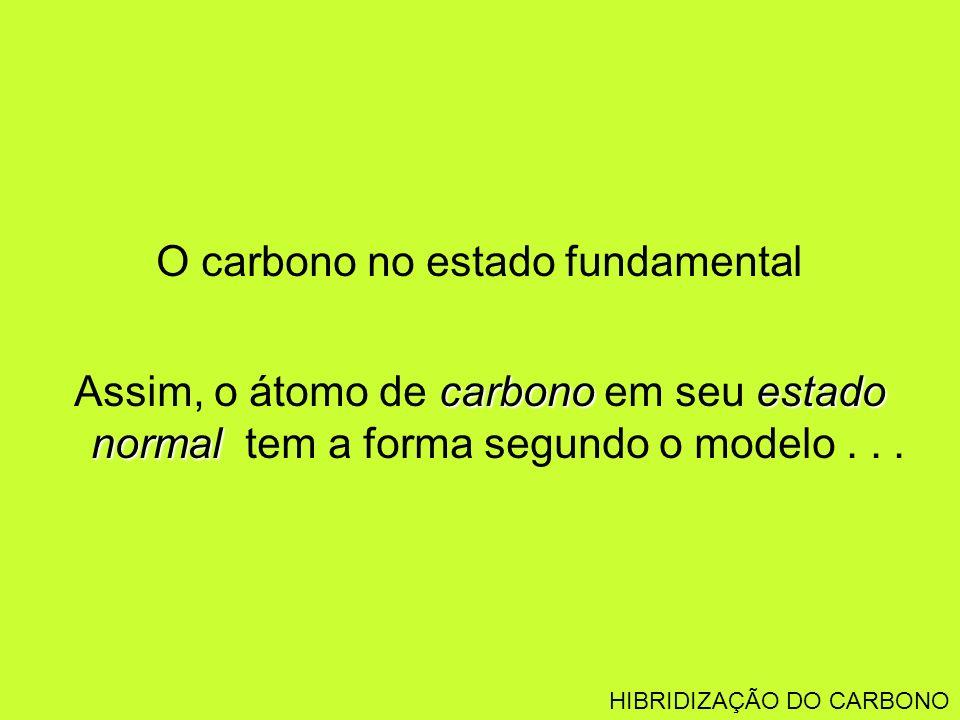 O carbono no estado fundamental carbonoestado normal Assim, o átomo de carbono em seu estado normal tem a forma segundo o modelo... HIBRIDIZAÇÃO DO CA