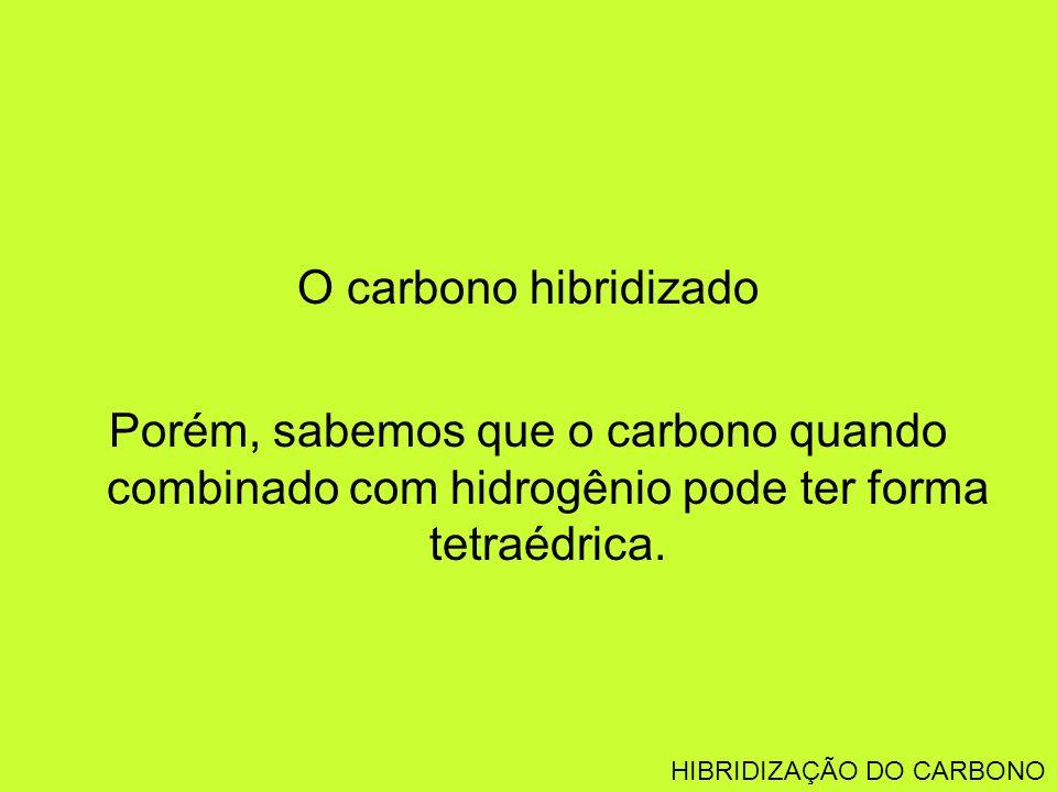 O carbono hibridizado Porém, sabemos que o carbono quando combinado com hidrogênio pode ter forma tetraédrica. HIBRIDIZAÇÃO DO CARBONO