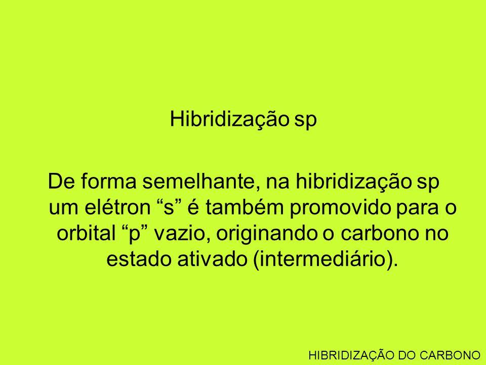 Hibridização sp De forma semelhante, na hibridização sp um elétron s é também promovido para o orbital p vazio, originando o carbono no estado ativado