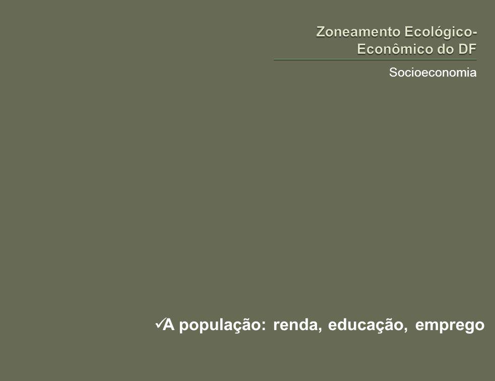 Socioeconomia A população: renda, educação, emprego