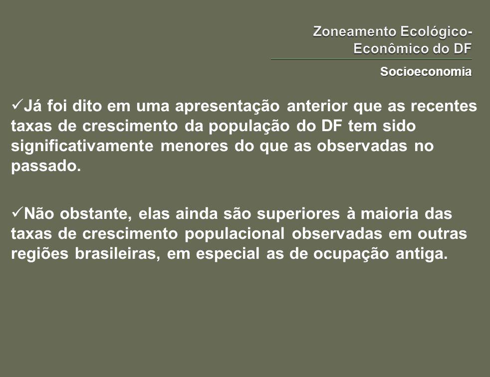 Socioeconomia Já foi dito em uma apresentação anterior que as recentes taxas de crescimento da população do DF tem sido significativamente menores do