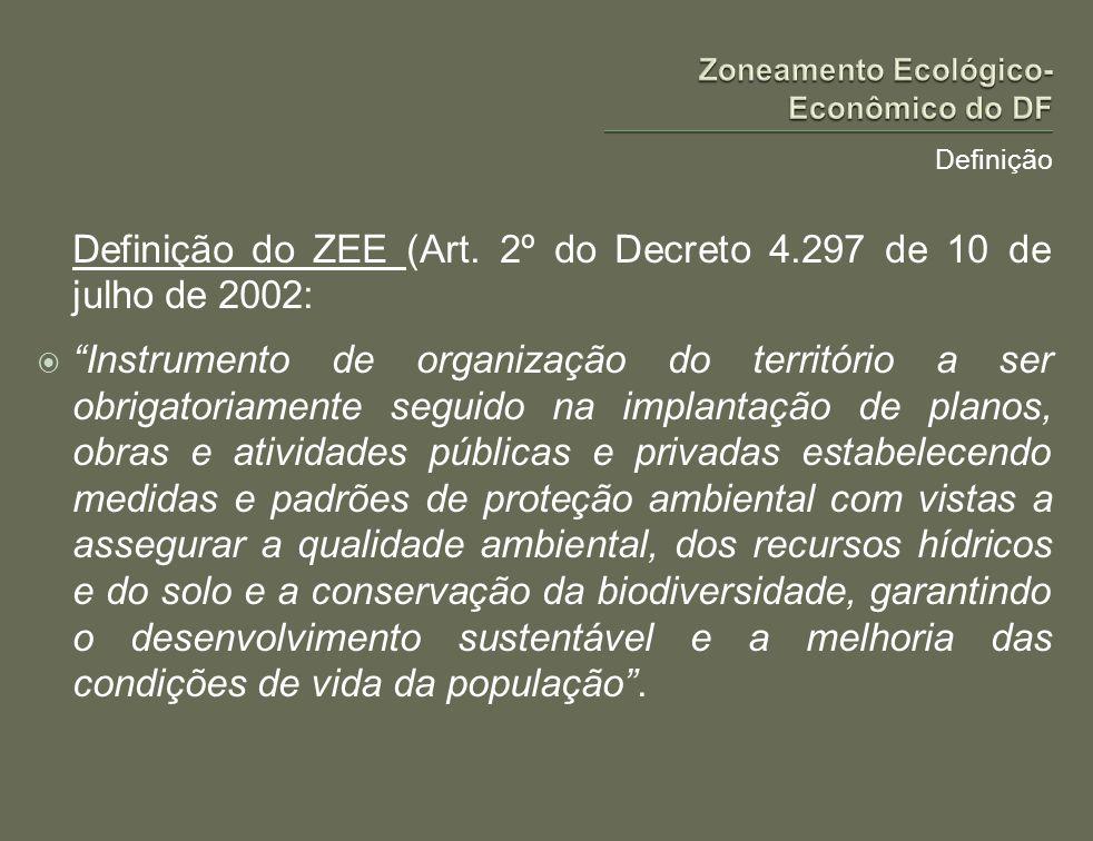 Definição Definição do ZEE (Art. 2º do Decreto 4.297 de 10 de julho de 2002: Instrumento de organização do território a ser obrigatoriamente seguido n