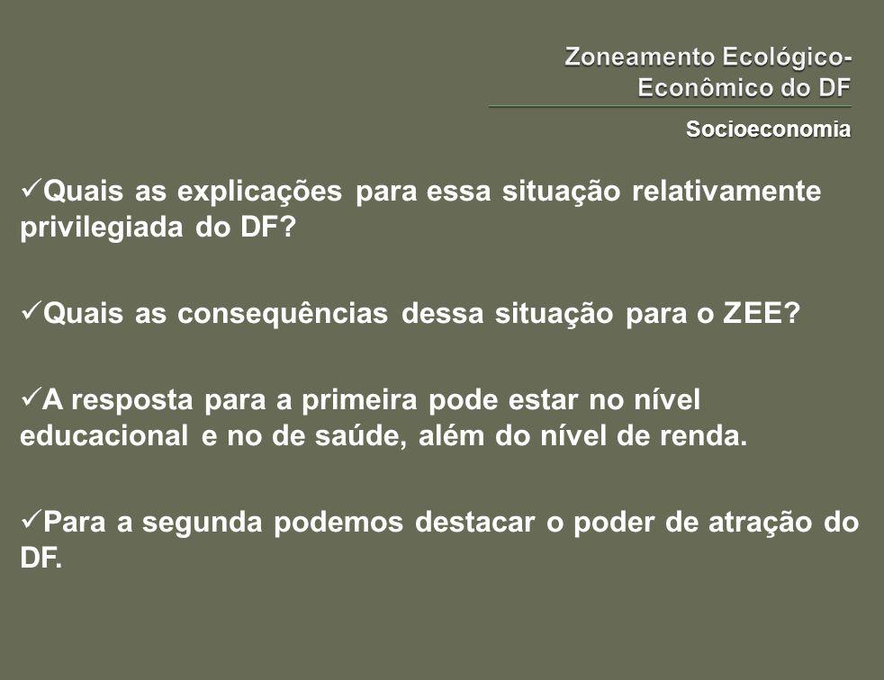 Socioeconomia Quais as explicações para essa situação relativamente privilegiada do DF? Quais as consequências dessa situação para o ZEE? A resposta p