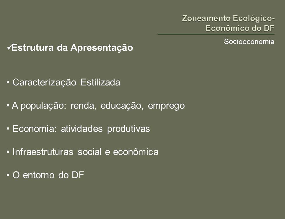 Socioeconomia Estrutura da Apresentação Caracterização Estilizada A população: renda, educação, emprego Economia: atividades produtivas Infraestrutura