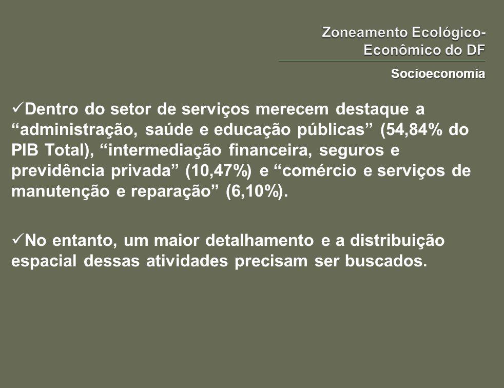 Socioeconomia Dentro do setor de serviços merecem destaque a administração, saúde e educação públicas (54,84% do PIB Total), intermediação financeira,