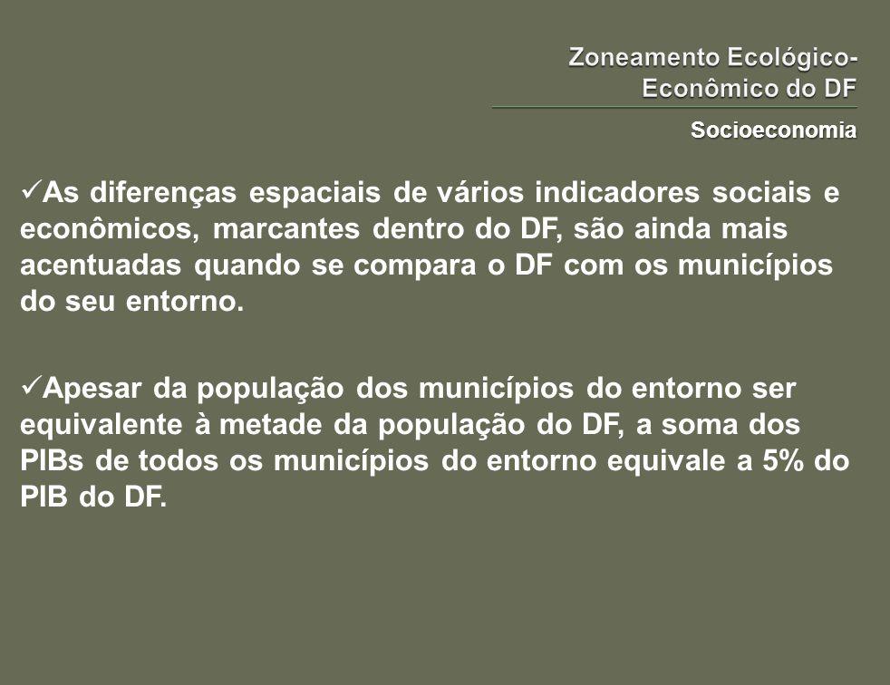 Socioeconomia As diferenças espaciais de vários indicadores sociais e econômicos, marcantes dentro do DF, são ainda mais acentuadas quando se compara