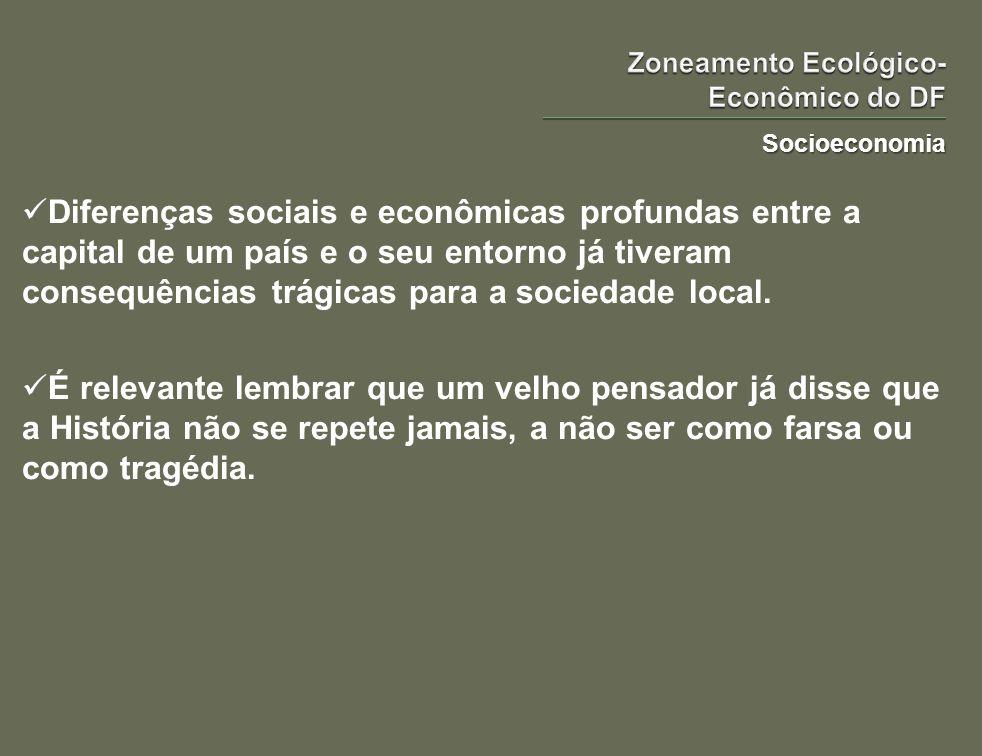 Socioeconomia Diferenças sociais e econômicas profundas entre a capital de um país e o seu entorno já tiveram consequências trágicas para a sociedade