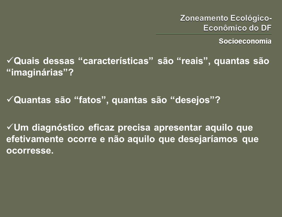 Socioeconomia O diagnóstico socioeconômico deste ZEE deve caracterizar maneira eficaz e objetiva a sociedade e a economia do DF.