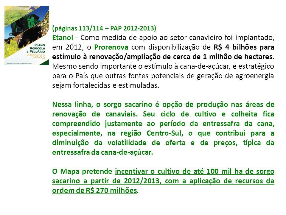(páginas 113/114 – PAP 2012-2013) Etanol - Como medida de apoio ao setor canavieiro foi implantado, em 2012, o Prorenova com disponibilização de R$ 4