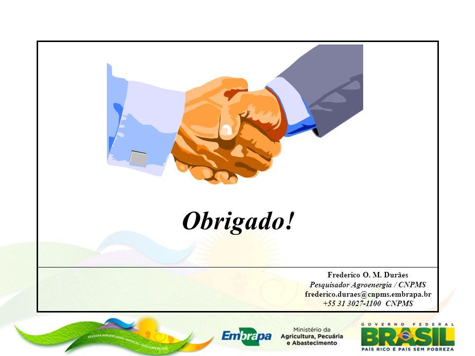 Obrigado! Frederico O. M. Durães Pesquisador Agroenergia / CNPMS frederico.duraes@cnpms.embrapa.br +55 31 3027-1100 CNPMS