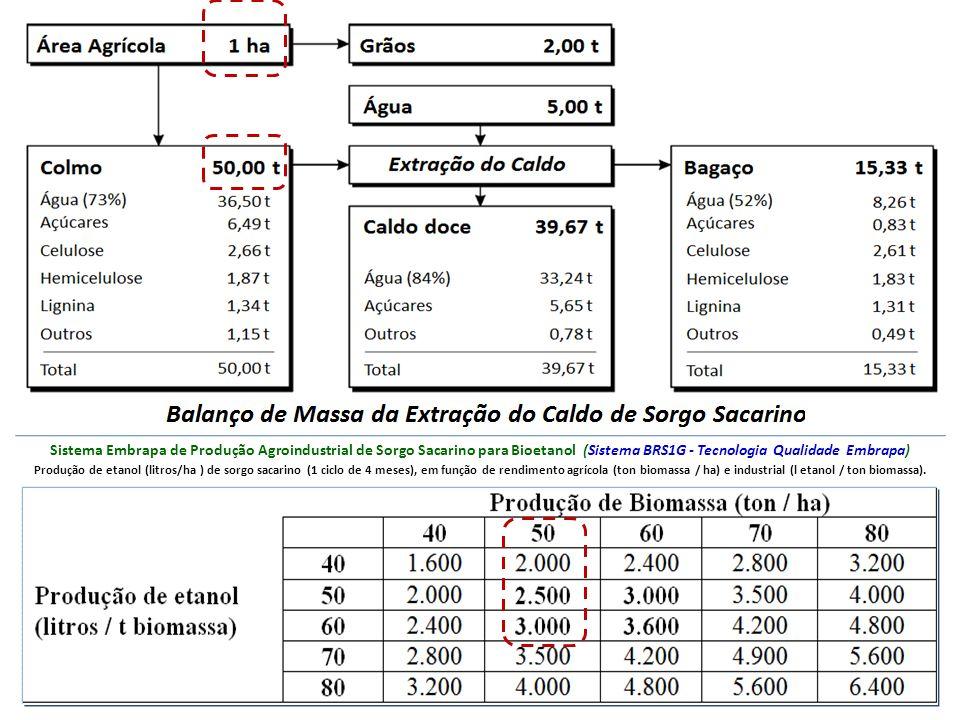 Sistema Embrapa de Produção Agroindustrial de Sorgo Sacarino para Bioetanol (Sistema BRS1G - Tecnologia Qualidade Embrapa) Produção de etanol (litros/