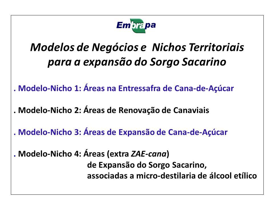 . Modelo-Nicho 1: Áreas na Entressafra de Cana-de-Açúcar. Modelo-Nicho 2: Áreas de Renovação de Canaviais. Modelo-Nicho 3: Áreas de Expansão de Cana-d