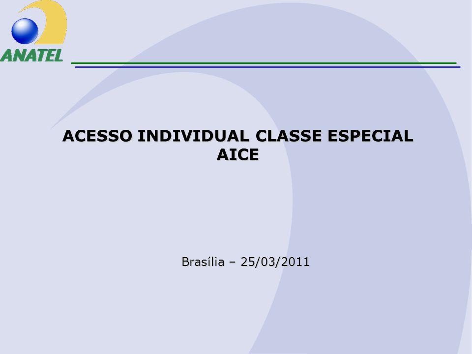 Brasília – 25/03/2011 ACESSO INDIVIDUAL CLASSE ESPECIAL AICE