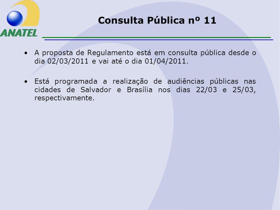 Consulta Pública nº 11 A proposta de Regulamento está em consulta pública desde o dia 02/03/2011 e vai até o dia 01/04/2011.