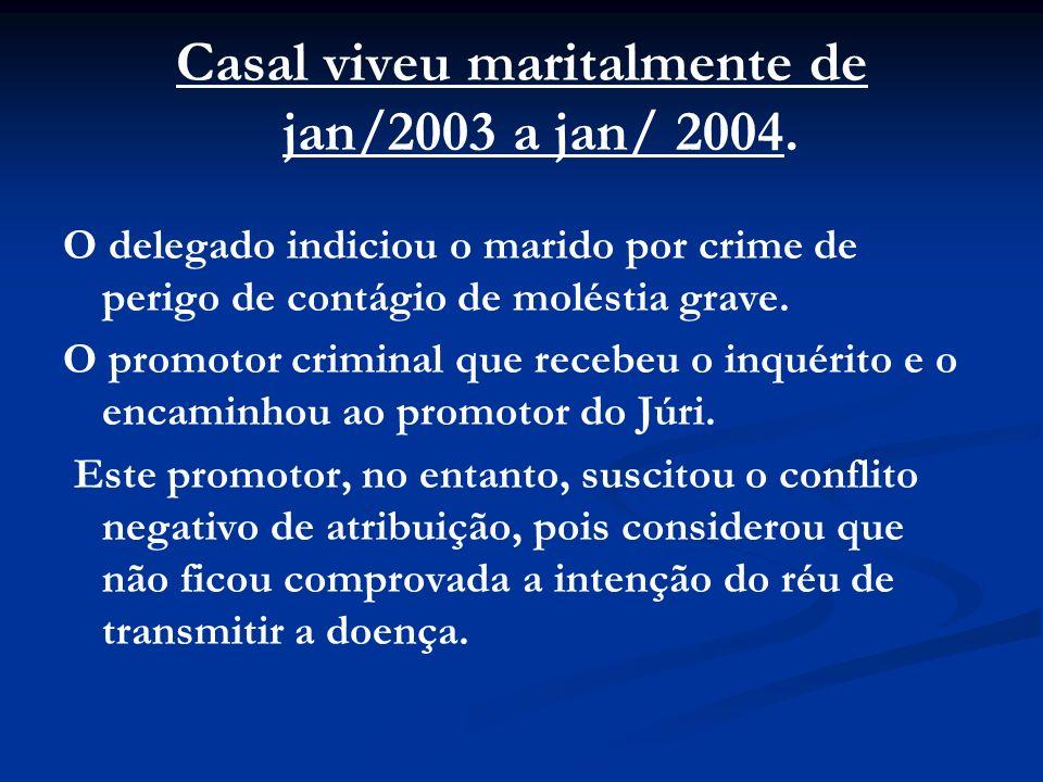 Casal viveu maritalmente de jan/2003 a jan/ 2004. O delegado indiciou o marido por crime de perigo de contágio de moléstia grave. O promotor criminal