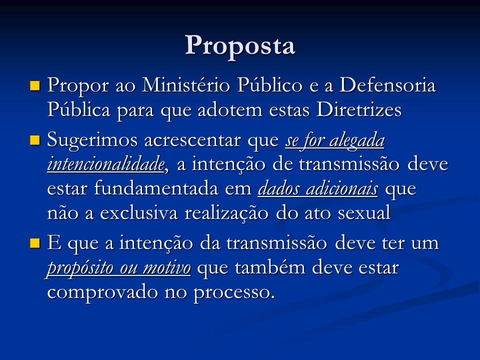 Proposta Propor ao Ministério Público e a Defensoria Pública para que adotem estas Diretrizes Propor ao Ministério Público e a Defensoria Pública para