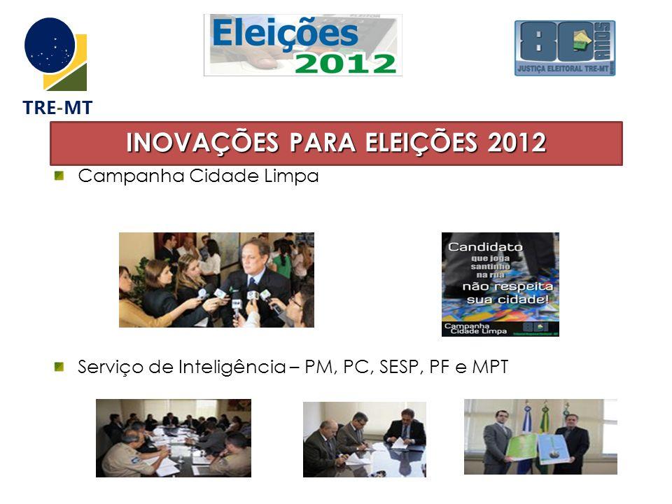 INOVAÇÕES PARA ELEIÇÕES 2012 Campanha Cidade Limpa Serviço de Inteligência – PM, PC, SESP, PF e MPT TRE-MT