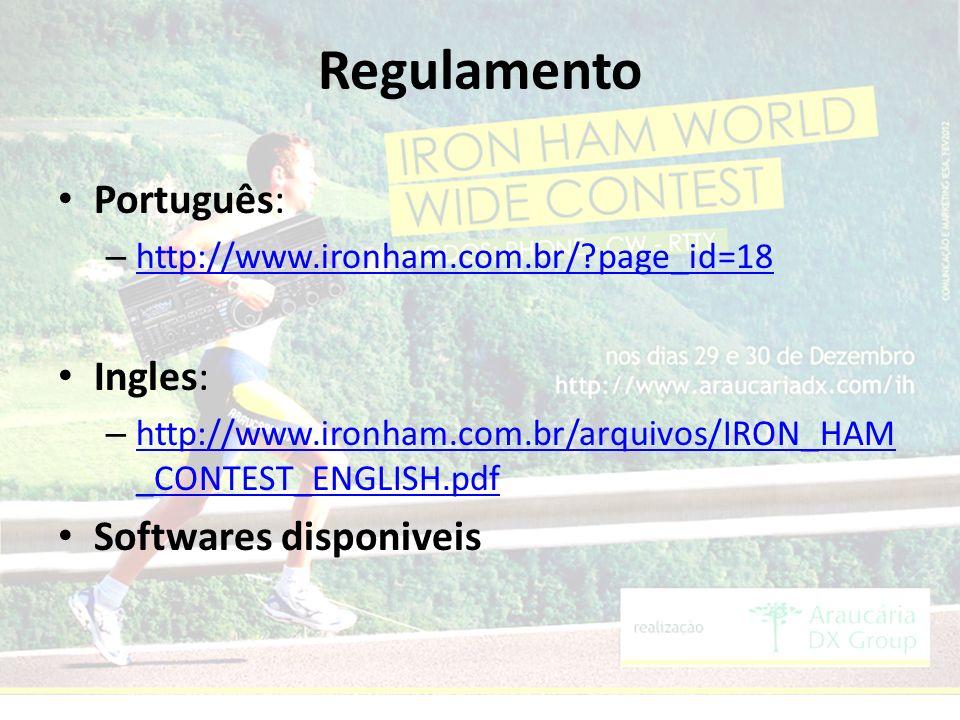 Regulamento Português: – http://www.ironham.com.br/ page_id=18 http://www.ironham.com.br/ page_id=18 Ingles: – http://www.ironham.com.br/arquivos/IRON_HAM _CONTEST_ENGLISH.pdf http://www.ironham.com.br/arquivos/IRON_HAM _CONTEST_ENGLISH.pdf Softwares disponiveis