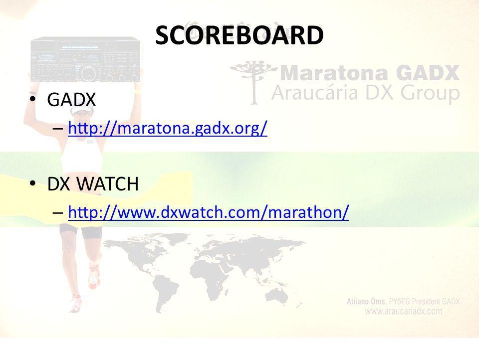 SCOREBOARD GADX – http://maratona.gadx.org/ http://maratona.gadx.org/ DX WATCH – http://www.dxwatch.com/marathon/ http://www.dxwatch.com/marathon/