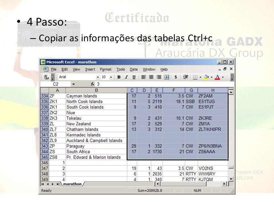 5 Passo: – Colar as informações na planilha do CQ Marathon Ctrl+v