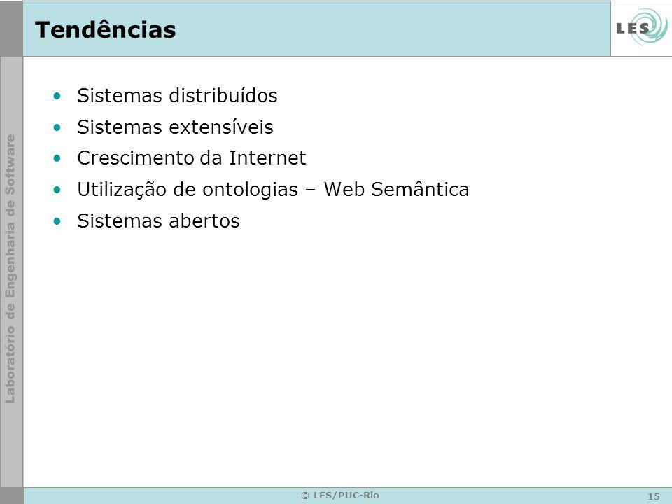 15 © LES/PUC-Rio Tendências Sistemas distribuídos Sistemas extensíveis Crescimento da Internet Utilização de ontologias – Web Semântica Sistemas abert