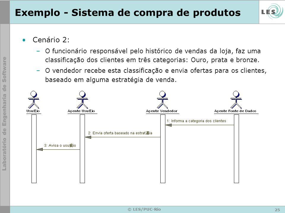 25 © LES/PUC-Rio Exemplo - Sistema de compra de produtos Cenário 2: –O funcionário responsável pelo histórico de vendas da loja, faz uma classificação
