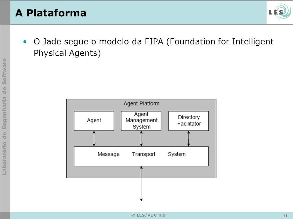 41 © LES/PUC-Rio A Plataforma O Jade segue o modelo da FIPA (Foundation for Intelligent Physical Agents)
