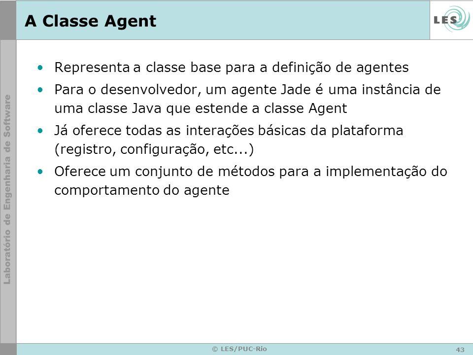 43 © LES/PUC-Rio A Classe Agent Representa a classe base para a definição de agentes Para o desenvolvedor, um agente Jade é uma instância de uma class