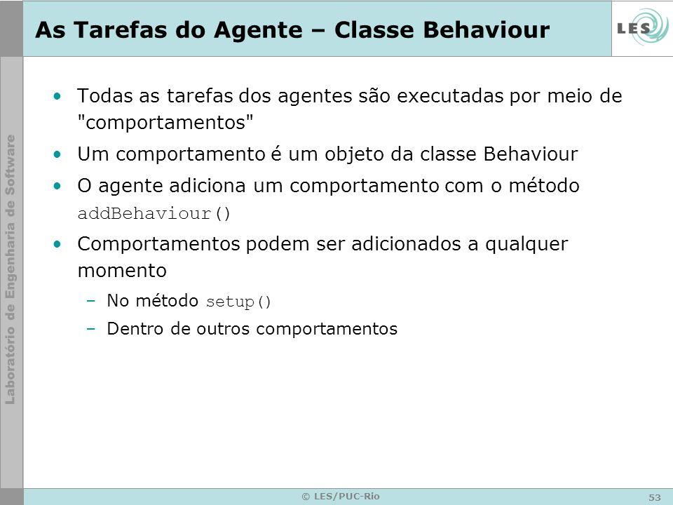 53 © LES/PUC-Rio As Tarefas do Agente – Classe Behaviour Todas as tarefas dos agentes são executadas por meio de