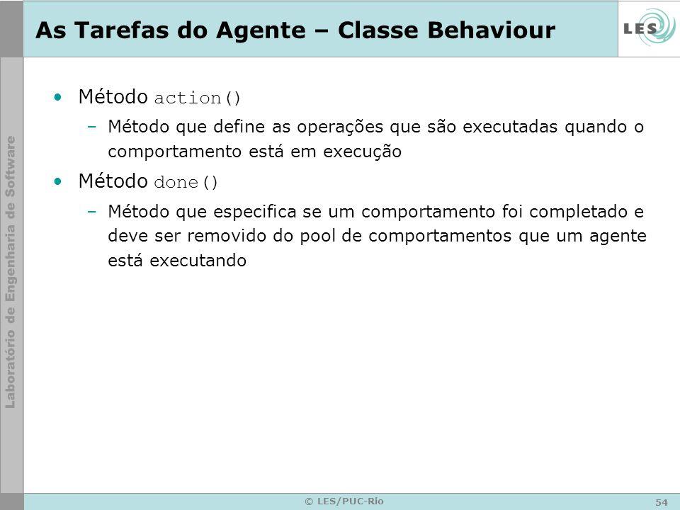 54 © LES/PUC-Rio As Tarefas do Agente – Classe Behaviour Método action() –Método que define as operações que são executadas quando o comportamento est