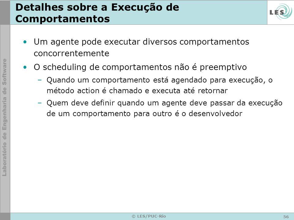 56 © LES/PUC-Rio Detalhes sobre a Execução de Comportamentos Um agente pode executar diversos comportamentos concorrentemente O scheduling de comporta