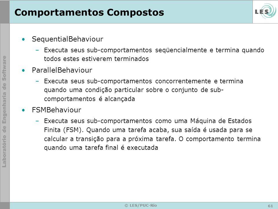 61 © LES/PUC-Rio Comportamentos Compostos SequentialBehaviour –Executa seus sub-comportamentos seqüencialmente e termina quando todos estes estiverem