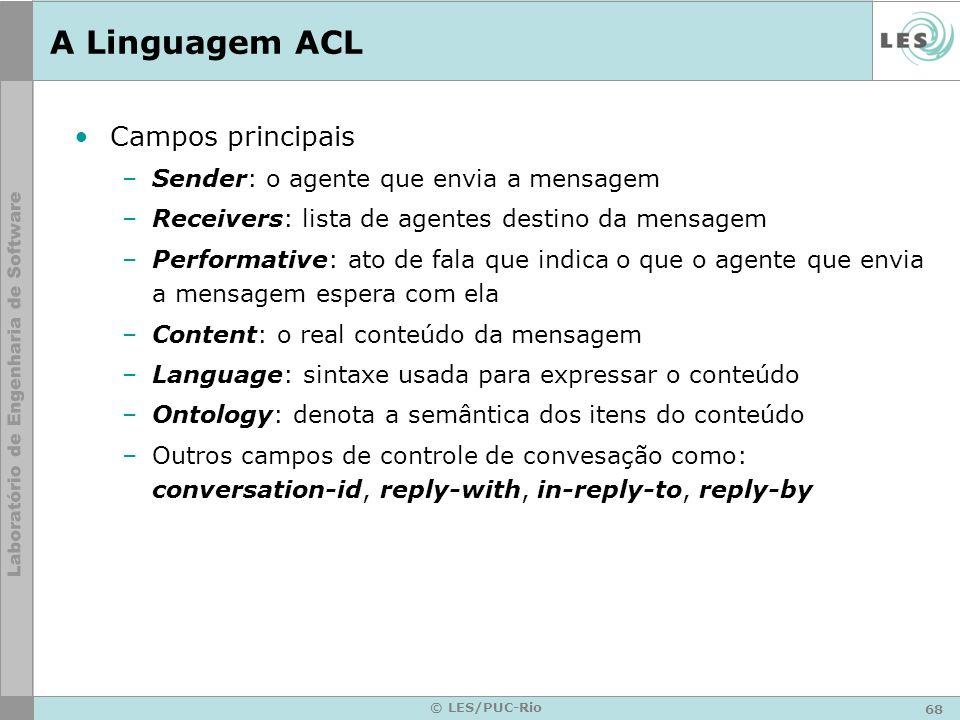 68 © LES/PUC-Rio A Linguagem ACL Campos principais –Sender: o agente que envia a mensagem –Receivers: lista de agentes destino da mensagem –Performati