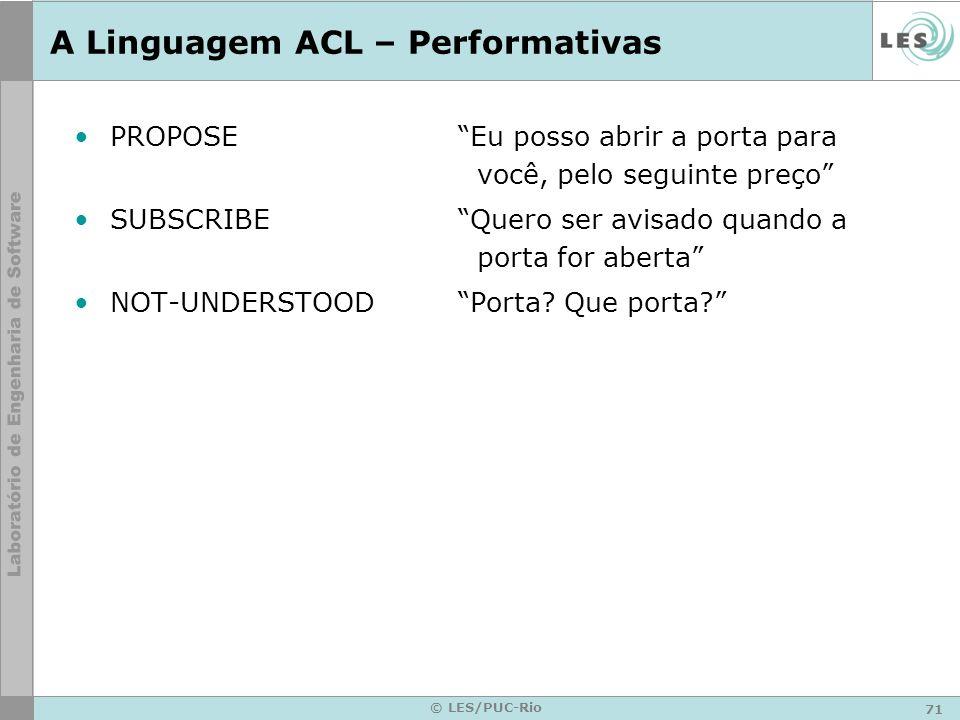 71 © LES/PUC-Rio A Linguagem ACL – Performativas PROPOSEEu posso abrir a porta para você, pelo seguinte preço SUBSCRIBEQuero ser avisado quando a port