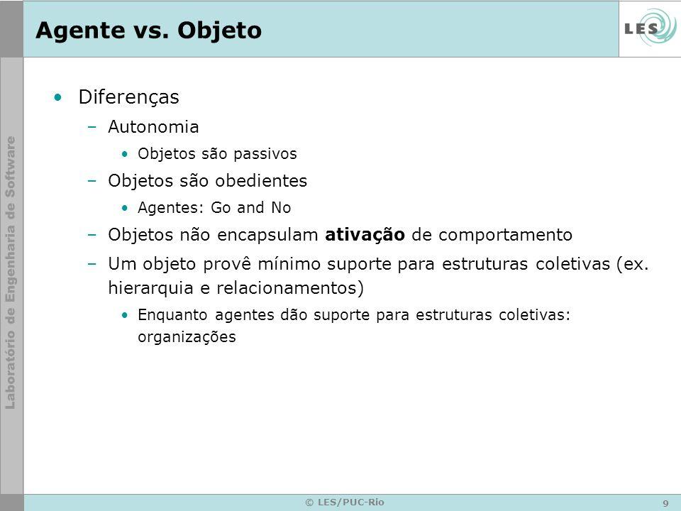 9 © LES/PUC-Rio Agente vs. Objeto Diferenças –Autonomia Objetos são passivos –Objetos são obedientes Agentes: Go and No –Objetos não encapsulam ativaç