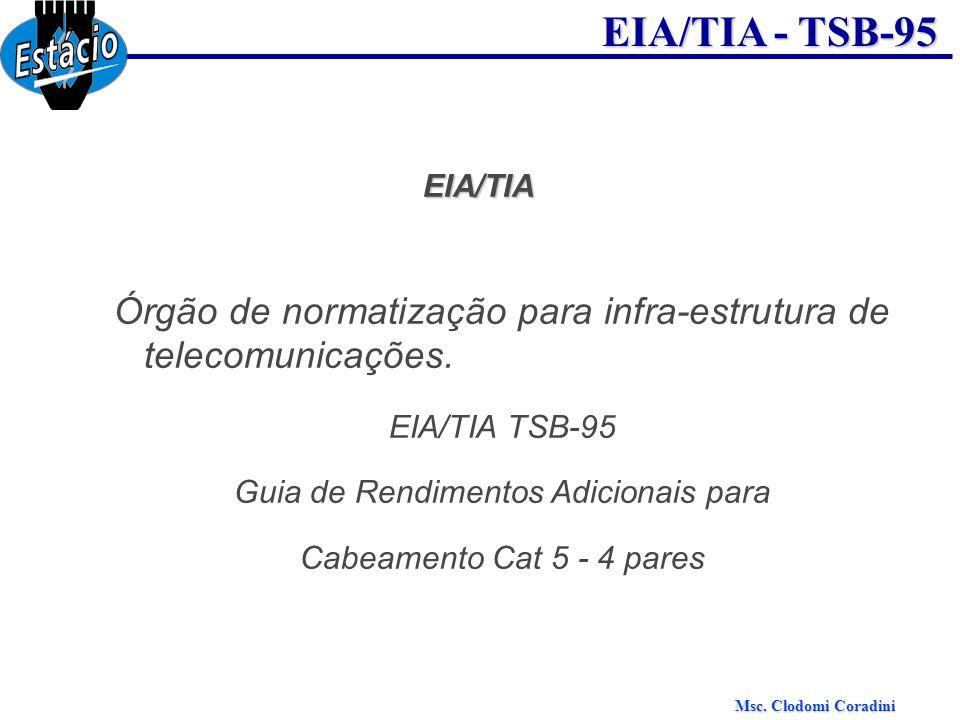 Msc. Clodomi Coradini EIA/TIA - TSB-95 EIA/TIA Órgão de normatização para infra-estrutura de telecomunicações. EIA/TIA TSB-95 Guia de Rendimentos Adic
