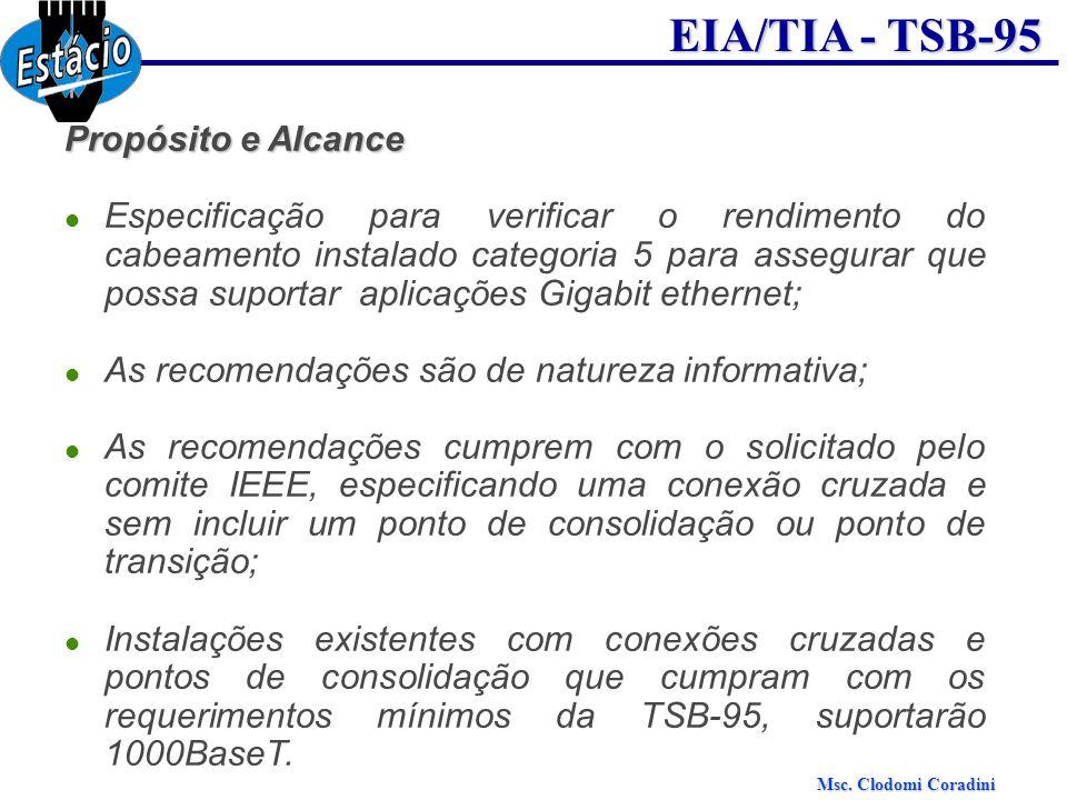 Msc. Clodomi Coradini EIA/TIA - TSB-95 Propósito e Alcance Especificação para verificar o rendimento do cabeamento instalado categoria 5 para assegura