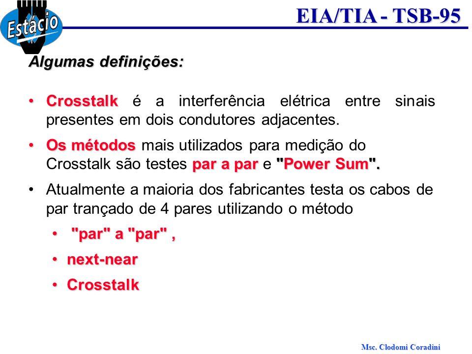Msc. Clodomi Coradini EIA/TIA - TSB-95 Algumas definições: CrosstalkCrosstalk é a interferência elétrica entre sinais presentes em dois condutores adj