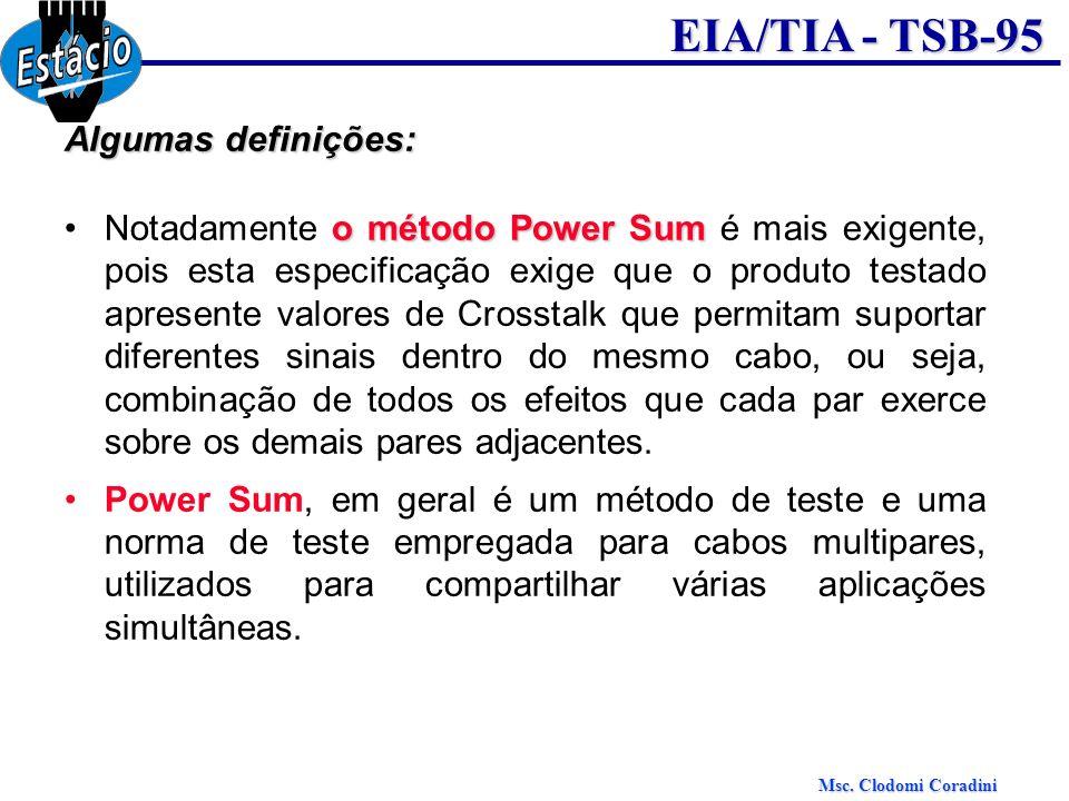 Msc. Clodomi Coradini EIA/TIA - TSB-95 Algumas definições: o método Power SumNotadamente o método Power Sum é mais exigente, pois esta especificação e