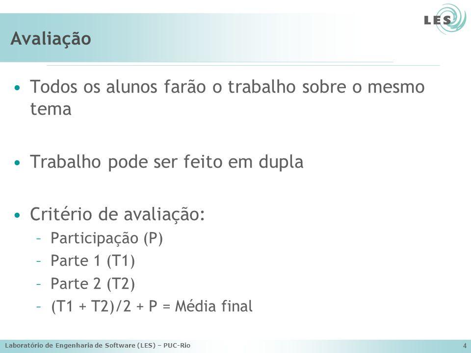 Laboratório de Engenharia de Software (LES) – PUC-Rio 4 Avaliação Todos os alunos farão o trabalho sobre o mesmo tema Trabalho pode ser feito em dupla