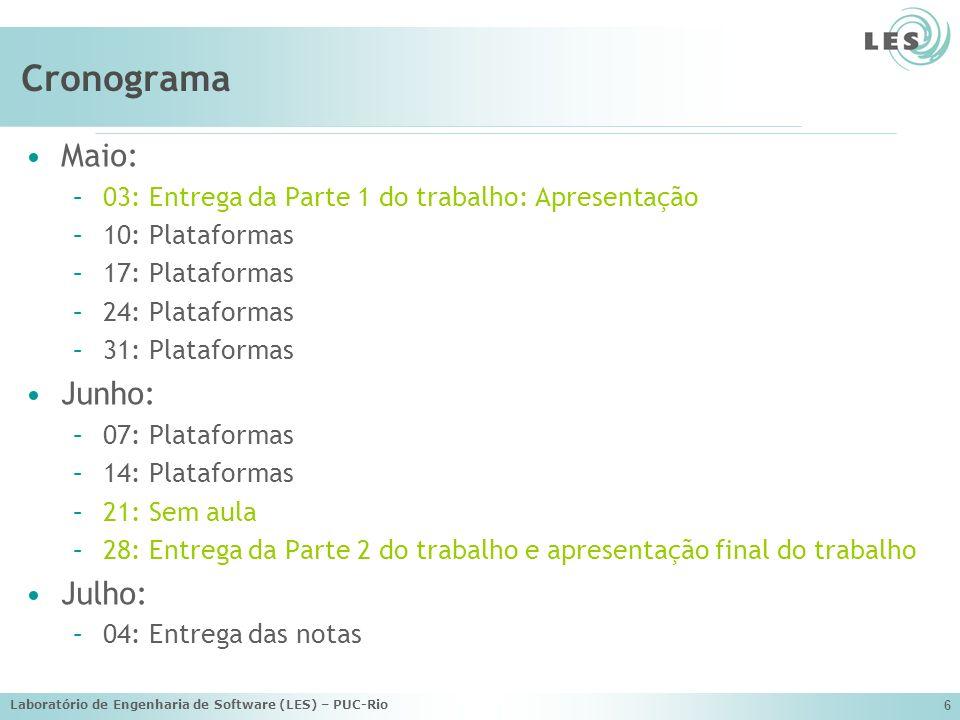 Laboratório de Engenharia de Software (LES) – PUC-Rio 6 Cronograma Maio: –03: Entrega da Parte 1 do trabalho: Apresentação –10: Plataformas –17: Plata