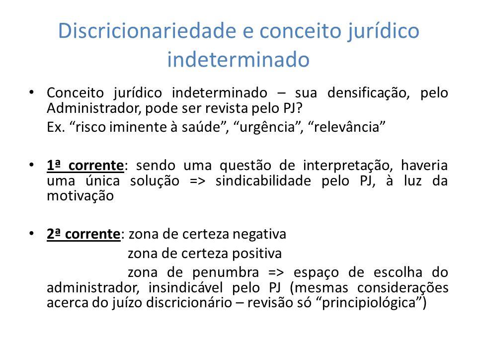Discricionariedade e conceito jurídico indeterminado Conceito jurídico indeterminado – sua densificação, pelo Administrador, pode ser revista pelo PJ?