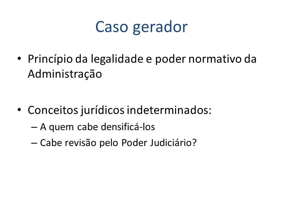 Caso gerador Princípio da legalidade e poder normativo da Administração Conceitos jurídicos indeterminados: – A quem cabe densificá-los – Cabe revisão