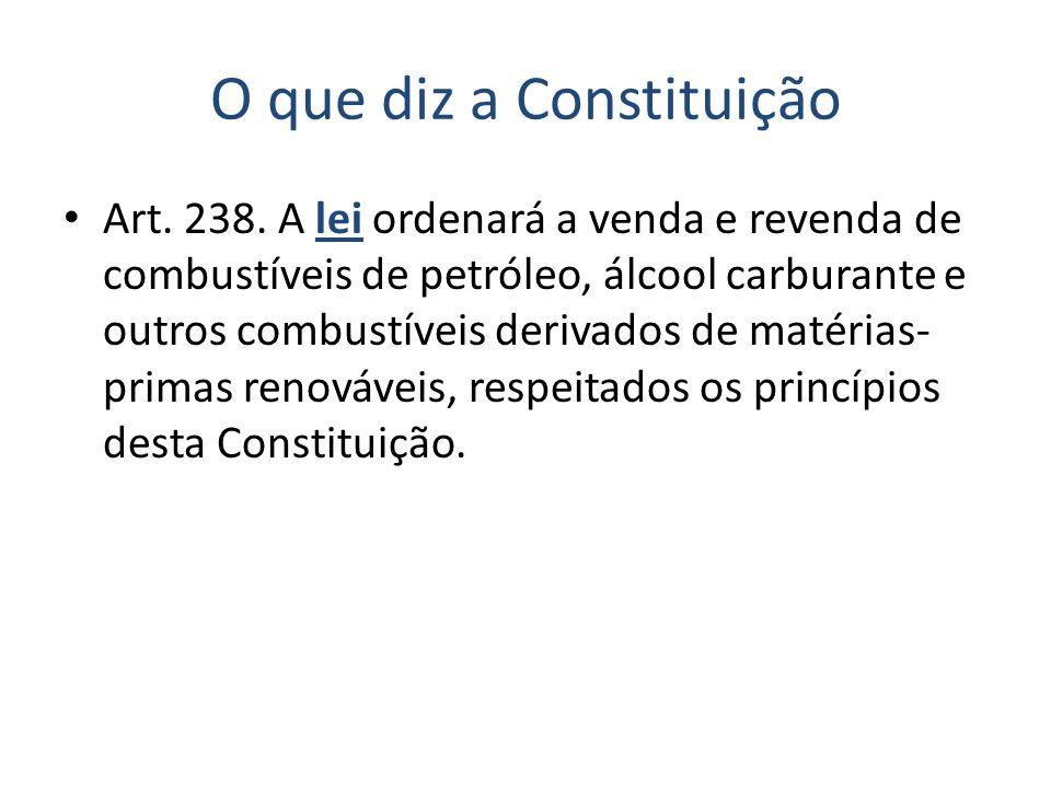 O que diz a Constituição Art. 238. A lei ordenará a venda e revenda de combustíveis de petróleo, álcool carburante e outros combustíveis derivados de