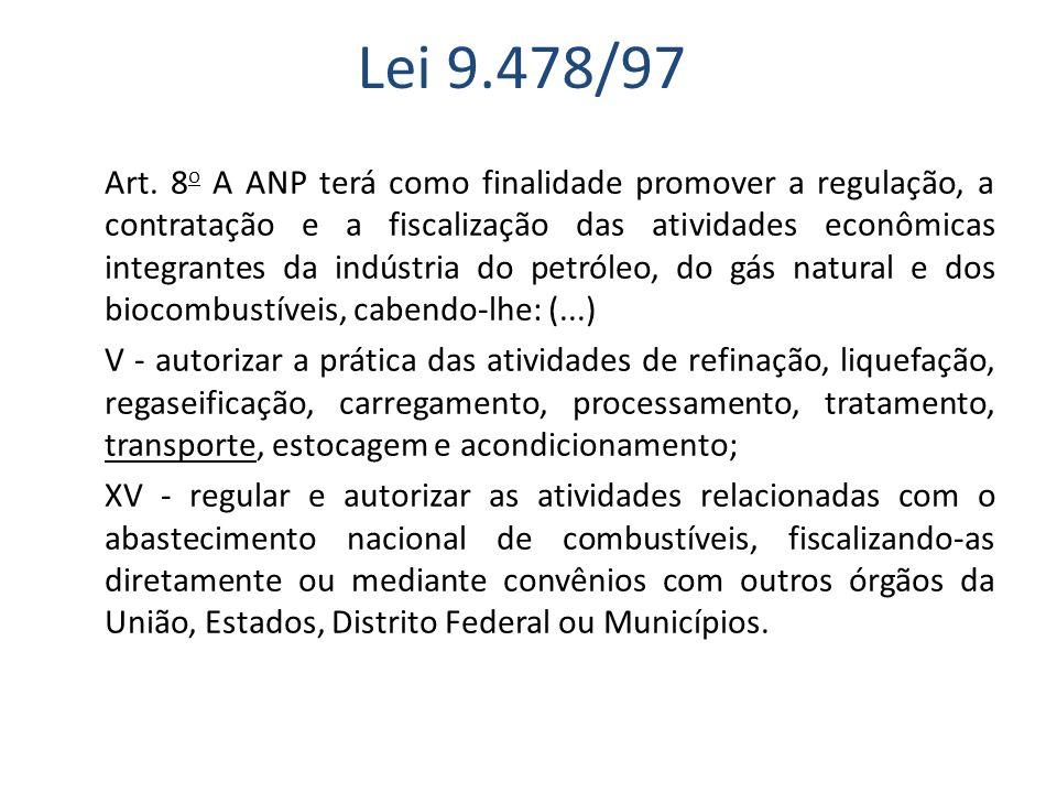 Lei 9.478/97 Art. 8 o A ANP terá como finalidade promover a regulação, a contratação e a fiscalização das atividades econômicas integrantes da indústr