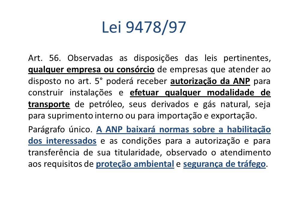 Lei 9478/97 Art. 56. Observadas as disposições das leis pertinentes, qualquer empresa ou consórcio de empresas que atender ao disposto no art. 5° pode