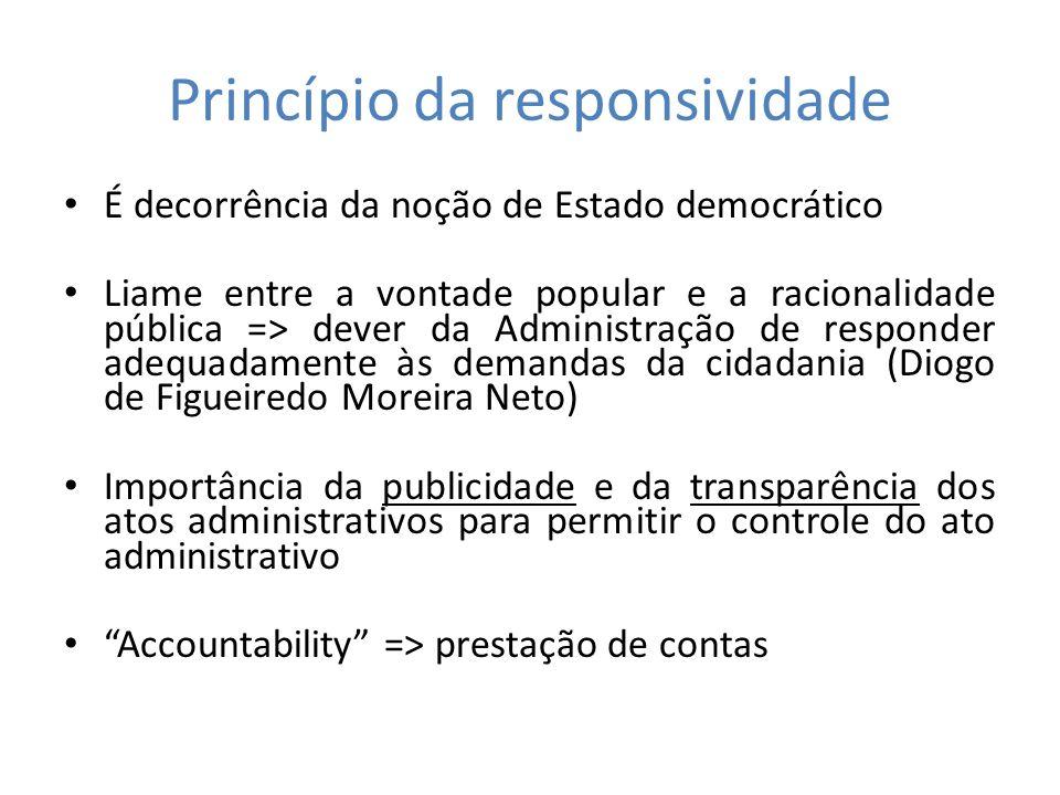 Princípio da responsividade É decorrência da noção de Estado democrático Liame entre a vontade popular e a racionalidade pública => dever da Administr