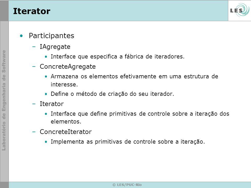 © LES/PUC-Rio Iterator Participantes –IAgregate Interface que especifica a fábrica de iteradores. –ConcreteAgregate Armazena os elementos efetivamente