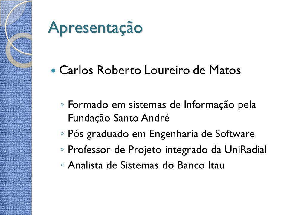 Apresentação Carlos Roberto Loureiro de Matos Formado em sistemas de Informação pela Fundação Santo André Pós graduado em Engenharia de Software Profe